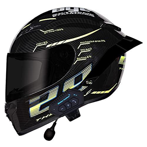 RMBDD Casco de Motocicleta Bluetooth de Completa Impermeable Trasera Ciclomotor Unisex Adulto Cascos de Protección de Cuero de PU Que Cumplen Las Leyes de Tránsito Dot/ECE (57~62CM)