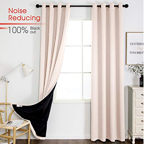 Thermal 100% Blackout Grommet Curtain for Room,Double-Layer Multi-Function Noise Reducing Performance Drapes with Black Lining, Full Light Blocking Drapery Panels,1 pair,52'x95', Pink