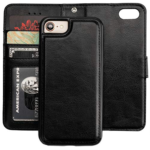 Bocasal iPhone 8 Plus iPhone 7 Plus Wallet Case with Card Holder PU Leather Magnetic Detachable Kickstand Shockproof Wrist Strap Removable Flip Cover for iPhone 7/8 Plus 5.5 inch (Black)