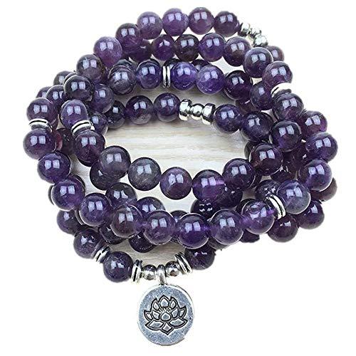 ZHIRCEKE Diseño de Lujo Purple Natural Gemstone 108 Mara Lotus Pulsera o Collar Reiki Buddhist Rosario Pulsera,A