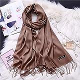 Scarves Silk Winter Scarves For Women Shawls Warm Wraps Lady Pashmina Pure Blanket Cashmere Scarf Neck Headband Hijabs Stoles Foulard 150-15-Deepkhaki