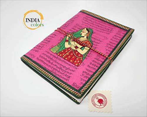 India Colors Regalo Agenda Album Fotos Diario Bloc Cuaderno Viajes Libro visitas. Modelo Grande. Hecho a Mano en India. Papel Artesanal algodón (Rosa)