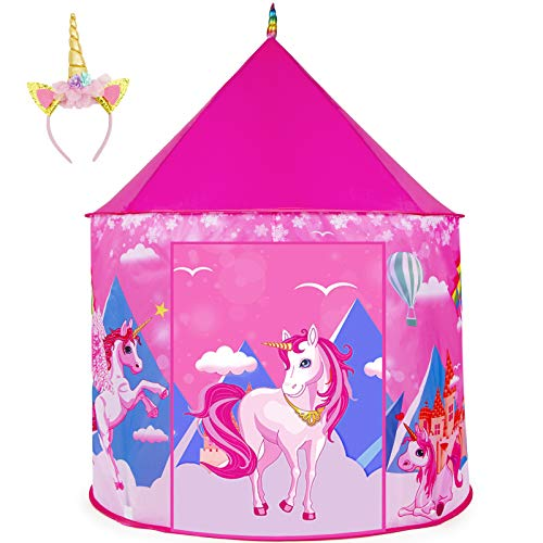HUFUN Unicorn Kids Play Tent, Princess Castle Play Tent with Unicorn Headband & Carry Bag, Foldable Pop Up Pink Tent Playhouse for Kids Girls Indoor and Outdoor , Perfect Xmas Birthday Gift