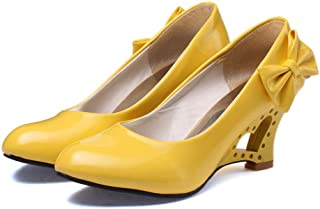 Damesschoenen met hoge hakken,Sleehak hol met boog knoop ronde neus pomp schoenen geschikt voor feesten banketten GROTE MA...