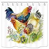 123456789 Farm Animal Duschvorhang, Huhn & Hahn im Gras auf Weiß