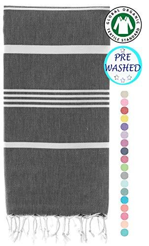 Prewashed, Soft Original Turkish Cotton Peshtemal Towels Pestemal Towel Best for Travel Camping Bath Sauna Boho Beach Towels Absorbent Stylish Eco friendly Thin Towels, 70x37 Inches ( Fair Aqua)