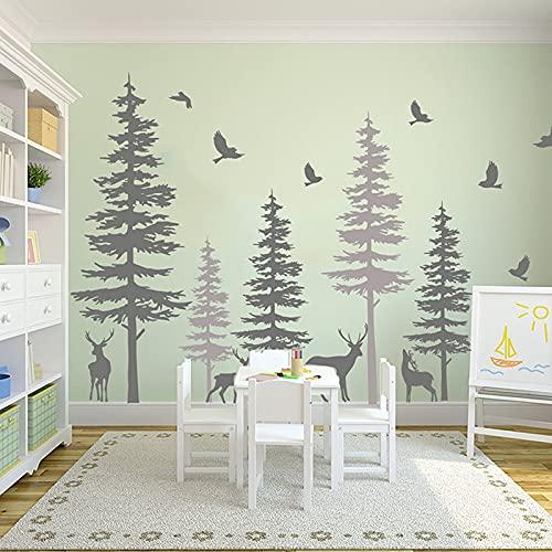 Adesivo da parete animale grande cervo di pino Dormitorio da ufficio Giungla Foresta Cervo Albero Uccelli Adesivo da parete Stanza della scuola materna Decorazione in vinile