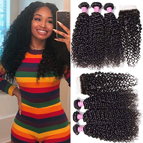 ALI JULIA 3 Bundles Brazilian Virgin Curly Hair Weft with 1pc 44 Lace Closure Free Part 7A...