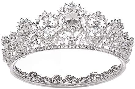 S SNUOY Silver Rhinestone Bridal Queen Crown Full Round Tiara for Women or Girls Wedding Pageant product image