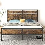 Allewie Industrial Full Size Bed Frame with Wood Headboard & Footboard, Metal Platform Bed No Box Spring Needed, Noise Free Design, Underbed Storage, Industrial Brown