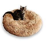 Exklusives weiches Hundebett FUZZY Haustierbett Katzensofa Hundehöhle Katzenbett für kleine, mittelgroße Haustiere Doughnut-Form Katzenkissen Welpenbett Handmade in der EU (Ø 70 cm,...
