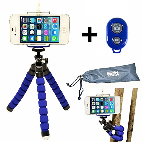 DaVoice Flexible Phone Tripod for Smartphone with Bluetooth Remote Control Compatible with iPhone X XS XR 8 7 6S 6 SE 5S 5C 5 4s 4 Galaxy S9 S8 S7 S6 S5 - Mini Cell Phone Tripod Stand Adapter (Blue)