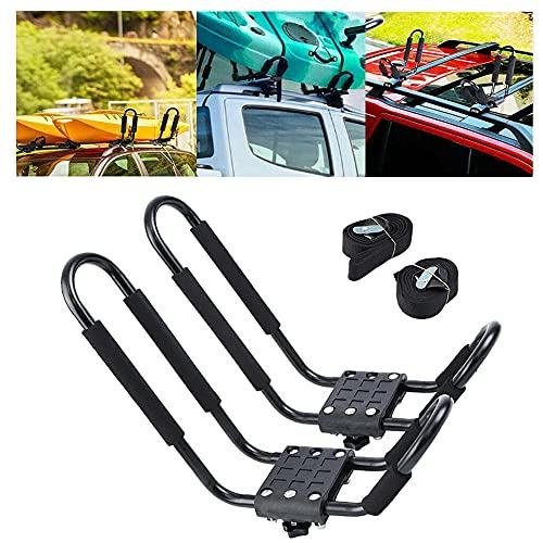 Ambienceo J Bars Portaequipajes para Kayak, Soporte para Transporte de Coche, Accesorio de Ayuda de Carga, Soporte Resistente, Tabla de Surf y Tabla de Esquí con 2correas Espuma protección