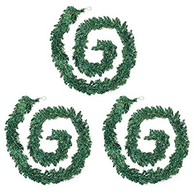 2 Pieces - 9FT/2.7M Christmas Garland Decoration Plain Green Undecorated Wreath Garland Xmas Green Pine Garland
