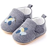 FEETCITY Sneakers Baby Boys Girls First Walkers Toddler Infant Shoes Non-Slip Sock Top Slippers Cartoon Crib Shoes 12-18 Months Grey Bee