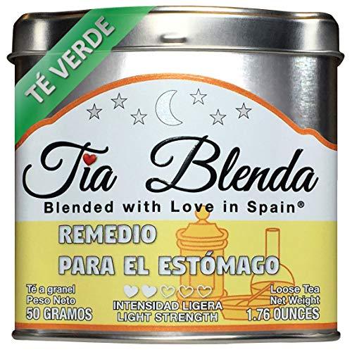 TIA BLENDA - REMEDIO PARA EL ESTÓMAGO (50 g) - Delicado TÉ VERDE Sencha Japonés con ANÍS ESTRELLADO. Té en hojas. 40-50 tazas. Presentación premium en lata. Loose Tea Caddy