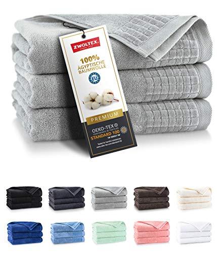 ZWOLTEX Himmlisch weiche Handtücher aus 100% Ägyptischer Baumwolle I Made IN EU I Gästehandtücher Ultra-Soft Duschtuch Badetuch - 3er Handtuch Set Graphit Hell-Grau