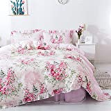 FADFAY Home Textile Pink Rose Floral Print Duvet Cover Bedding Set for Girls 4 Pieces Cal King Size