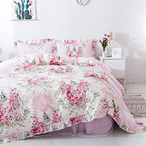 Price comparison product image FADFAY Home Textile Pink Rose Floral Print Duvet Cover Bedding Set for Girls 4 Pieces Twin Size
