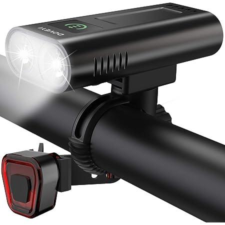 DOVEYI Luci Bici Ricaricabili USB,Luci Bicicletta LED Potenti 6400mAh Super Luminoso 2400 Lumens Luce Bici Anteriore e Posteriore ,Impermeabile IPX5 Set di luci per Bicicletta per Strada e Montagna