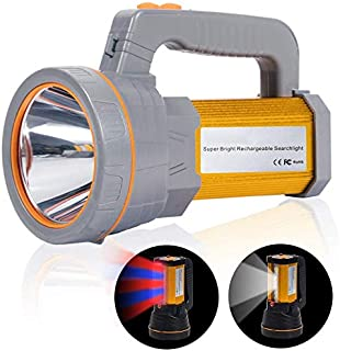 Super Bright Hand held LED Torch Heavy Duty USB Rechargeable Powerful Search Light Big Spotlight Flashlight Searchlight To...