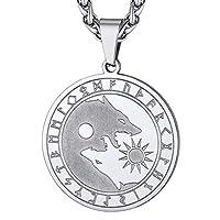 ✌【❥Design】Collier loup Yin Yang,pendentif vikings SKÖLL ET HATI amulette de la mythologie nordique en acier inoxydable.Exprimez votre courage et votre combativité avec ce collier de loup Fenrir.En portant ce collier loup yin yang tu imprégnes l'intel...