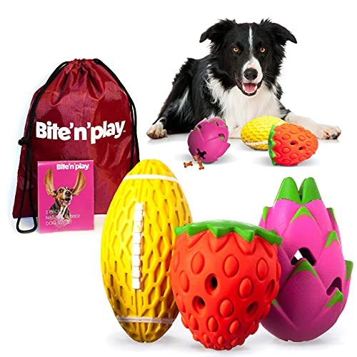 interactive dog toys Bite'n'Play Premium Dog Chew Toys, Sleek Design Interactive Dog Toys, Squeaky Dog Toys, Dog Toys for Aggressive Chewers Large Breed, Great Value Dog Puzzle Toys 3-Pack Natural Rubber Dog Toy Pack