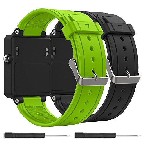 Bossblue Replacement Band for Garmin Vivoactive, Silicone Replacement Fitness Bands Wristbands with Metal Clasps for Garmin vivoactive GPS Smart Watch (Black-Green 2pack)