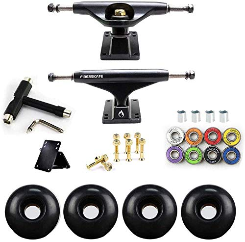 WSEG Skateboard Achse Set 54mm Räder + Poliertes Truck Kit, Skateboard Lager, Skateboard Schrauben und Skateboard Riser Pads (C)
