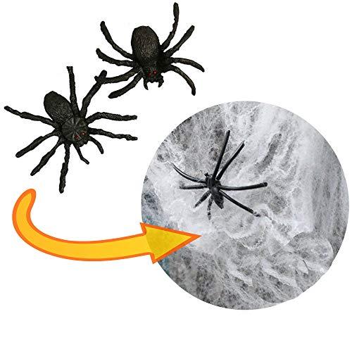 Spinnennetz Halloween Dekoration in PREMIUM QUALITÄT │ 100 Gramm XXL Netz inklusive 31 Spinnen │ Spinngewebe Deko Vorhang │ ideal geeignet für die Halloween Party und Feste für Kamin, Fenster, Türen