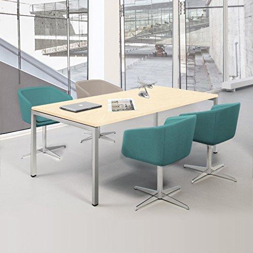 Weber Büroleben GmbH NOVA Besprechungstisch 180x80cm Ahorn 4-6 Pers. Konferenztisch Meetingtisch, Gestellfarbe:Silber