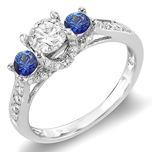 Dazzlingrock Collection 14K Round White Diamond and Blue Sapphire 3 Stone Ladies Engagement Ring, White Gold, Size 5