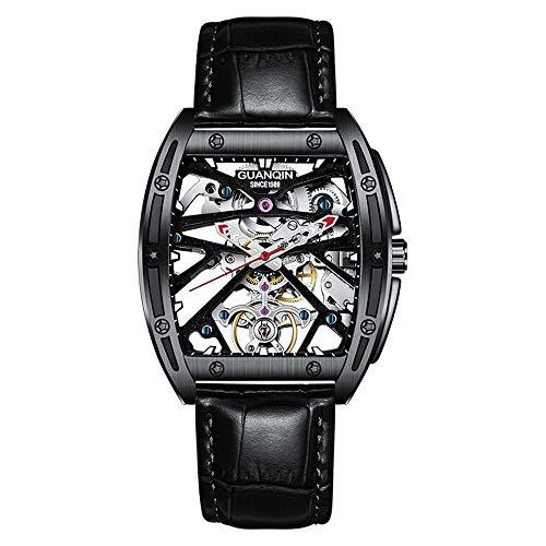 Guanqin, orologio da polso da uomo, automatico, luminoso, con scheletro Tourbillon, Pelle nera, Cinturino