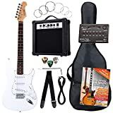 Rocktile ST Pack guitarra eléctr Set blanca incl. ampl, bolsa, afinador, cable, correa, cuerdas, cur