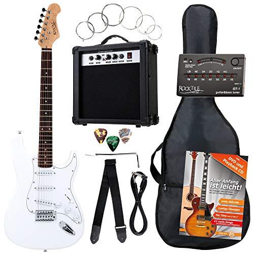 Rocktile ST Pack guitarra eléctr Set blanca incl. ampl, bolsa, afinador, cable,...