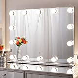 Chende 31.5' X 23.6' Large Hollywood Makeup Mirror with 14 LED Light Bulbs, Lighted Vanity Mirror for Wall with Touch Control Dimmer in Makeup Studio, 3 Color Lighting Modes