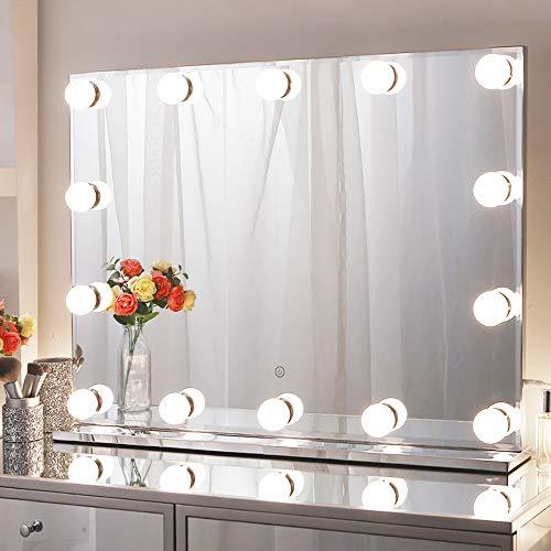 Chende Hollywood Spiegel mit Licht, Schminkspiegel mit Beleuchtung Gross für Wandmontage, Professionelle Rahmenloser Beleuchtet Kosmetikspiegel mit 3 Farbumbauten für Schminktisch(80x60cm)