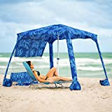 AMMSUN Beach Cabana, 5.5' × 5.5' Beach Canopy, Easy Set up and Take Down Large Shade Area Outdoor Sun Umbrella with Sand Pockets, Instant Sun Shelter with Privacy Sunwall, Blue