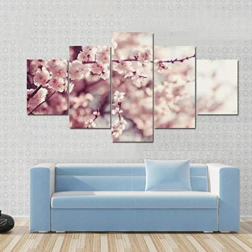 IOOIO Cuadro sobre Impresión Lienzo 5 Piezas Flores de Cerezo Rosa Cuadro en Lienzo 5 Piezas Listo para Colgar Lienzos Moderno Arte Sala Decoración Regalo