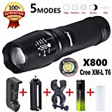 Handheld Flashlights,Lookatool 5000 Lumen G700 LED Zoom X800 Military Lumitact Torch Battery Charger