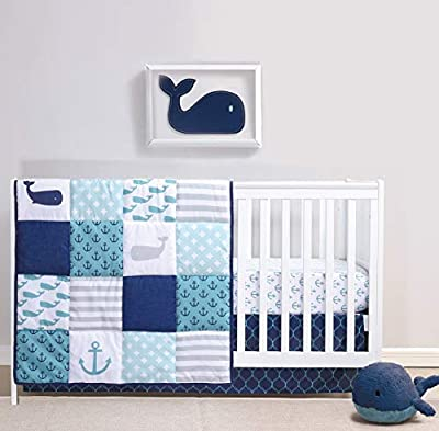 The Peanutshell Nautical Crib Bedding Set for Baby Boys or Girls | 3 Piece Nursery Set | Crib Quilt, Crib Sheet, Crib Skirt Included by Farallon Brands