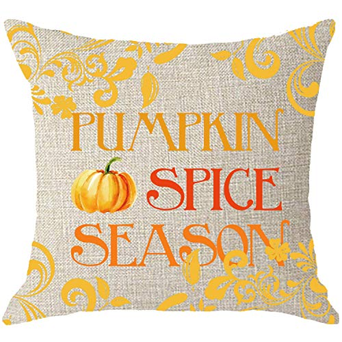 Mesllings Happy Welcome Herfst Oogst Pompoen Kruid Seizoen Crème Body jute Kussensloop Kussensloop Sofa Decoratieve Vierkant 18x18 Inches (Pumpkin Spice Season)