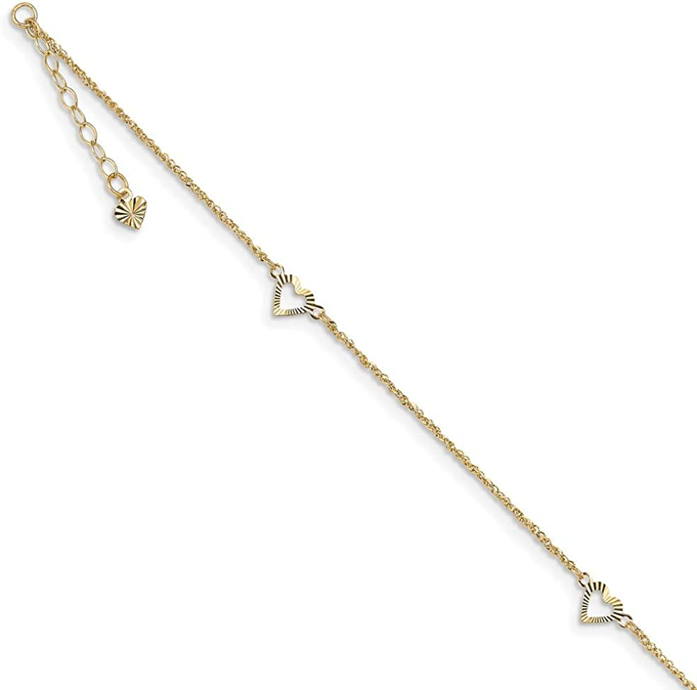 14k Yellow Gold Diamond-Cut Hearts Anklet Chain, 10