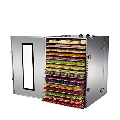 Déshydrateur Alimentaire Professionnel BioChef Premium 16 Plateaux - 1500w, Minuterie 15h, Plateaux amovibles en Acier Inoxydable