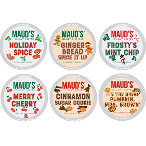 Maud's Holiday Flavored Coffee Variety Pack, 42ct. Recyclable Single Serve Limited Release Holiday Flavored Coffee Pods Variety Pack - 100% Arabica Coffee California Roasted, Keurig Holiday Flavored Coffee K Cups Variety Pack Compatible