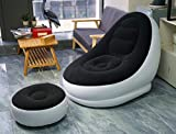 Elito Home & Garden Inflatable Deluxe Lounge Lounger Chair With Ottoman Foot stool Seat Relax Couch - Black