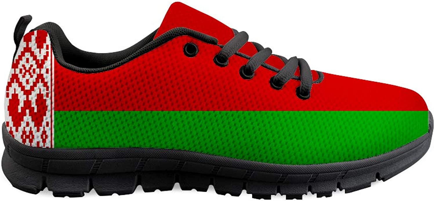 Owaheson Lace-up Sneaker Training shoes Mens Womens Belarus Flag