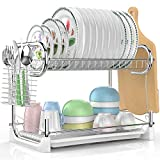Dish Drying Rack, Veckle 2 Tier Dish Drainer Easy Install Non-Slip Dish Rack Chrome Plated Dish Dryer with Removable Drain Board, Utensil Holder, Cutting Board Holder for Kitchen Counter, Silver