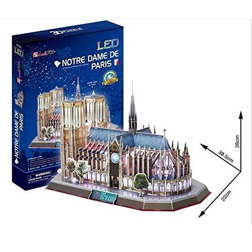 3D Puzzle Notre Dame de Paris Architecture Model LED Lighting