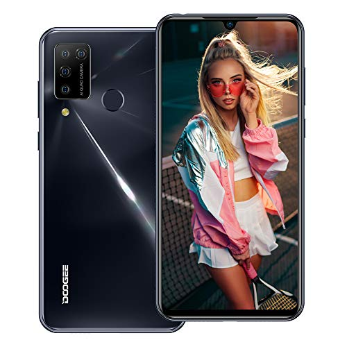 """Sim Free Mobile Phone, DOOGEE N20 Pro (2020) Android 10 Helio P60 Octa-core 6GB + 128GB ROM, 16MP Four Rear Camera + 16MP Front Camera, 6.3"""" FHD+ Screen 4400mAh Battery 4G Smartphones Unlocked -Black"""
